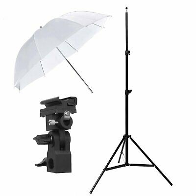 "33"" Translucent Umbrella + Bracket B + 2m Light Stand Kit for Flash Photography"