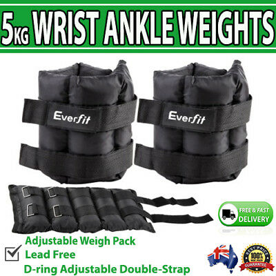 2x 5kg Ankle Weights Ballistic Training Fitness Adjustable Gym Leg Arm Speed