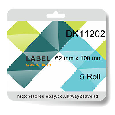 5 Rolls Compatibl with Brother DK11202 P Touch Address Shipping Labels 62x 100mm