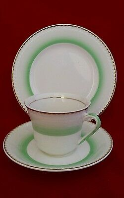 Vintage 1957 portland pottery cobridge tea trio