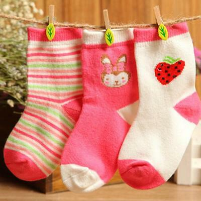 3 Pairs Newborn Infants Toddler Kids Baby Girls Cotton Warm Socks Cute Stockings