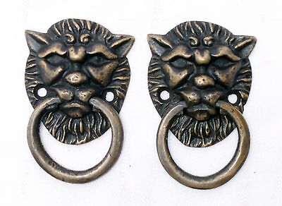 Lion Head Brass Drawer Pulls Set of 2