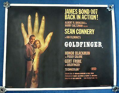 GOLDFINGER (1964) original British quad movie poster rare type B - JAMES BOND