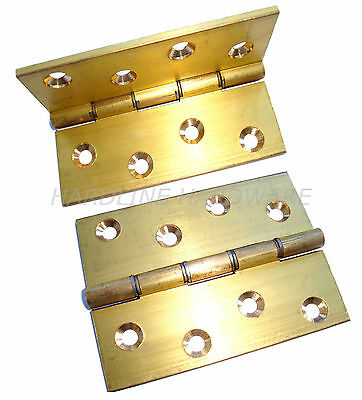 "2 Pack 4 X 3"" Heavy Duty Dsw Solid Brass Drawn Butt Hinges [ 1 Pair ] + Screws"