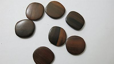 Tiger Ebony Flat Square 34x35mm 5mm Thick-Group of 6 Beads