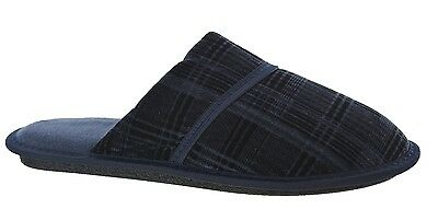 Mens Cool Indoor Flat Mule Hard Sole Navy Slip On Gents Boys Slippers Shoes Size