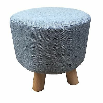 Grey Luxury Wooden Footstool Ottoman Round Pouffe Stool Wooden  4Legs Padded NEW