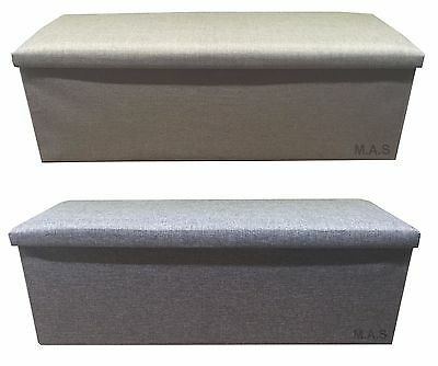 3 Seater Large Ottoman Faux Linen Folding Storage Toy Box Foot Stool Grey/beige