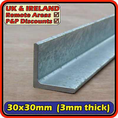 Galvanised Mild Steel Angle Section (L iron bracket) 30x30mm 3mm 30mm | metre ft