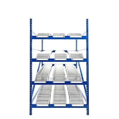 """NEW! UNEX Gravity Flow Roller Rack with Span Track Starter 48""""W x 72""""D x 84""""H!!"""