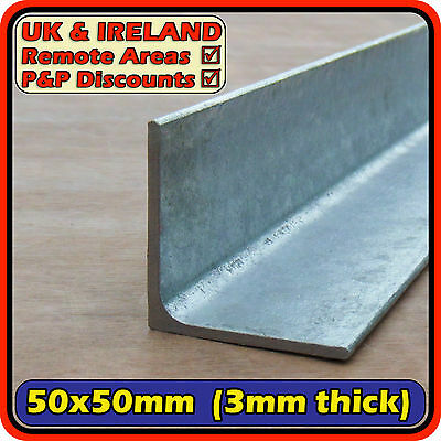 "Galvanised Mild Steel Angle Section (L iron bracket) 50x50mm 3mm (2"") 
