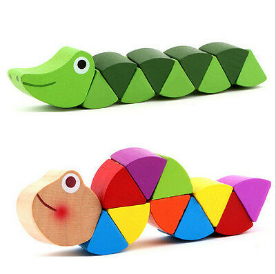 Wooden Crocodile Caterpillars Toys Baby Kids Educational Colours Gift TSUS