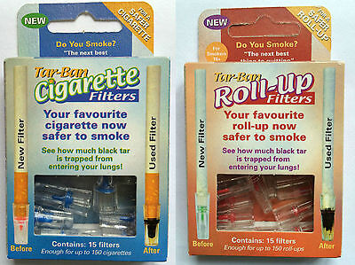 Tar Ban Cigarette / Roll-Up Filters x15 Safer Smoking Less Nicotine