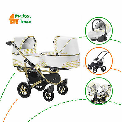 Pram Double Twin Duo  Twinni Tandem Pushchair Stroller Buggy + Two Car Seat