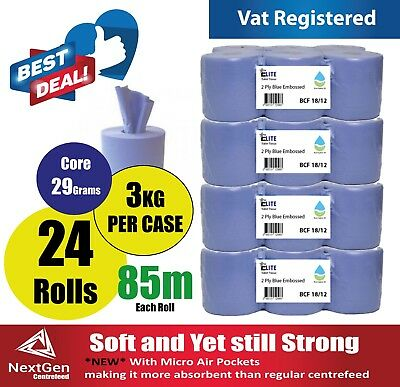 30 x Blue Rolls 2 PLY Elite Centrefeed Paper Wiper Roll Towels (5 Packs x 6 )
