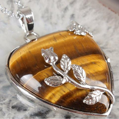 100% Natural tiger's eye stone heart shape pendant leave flower silver plated