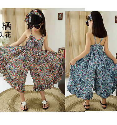 Age 6-12Y New Summer Kids Girl Casual Strap boho Jumpsuit Wide leg pants Rompers
