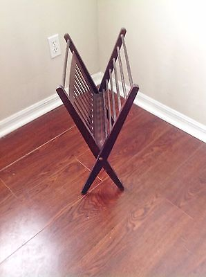Post-1950s Antique Vintage Folding Wood Magazine Rack