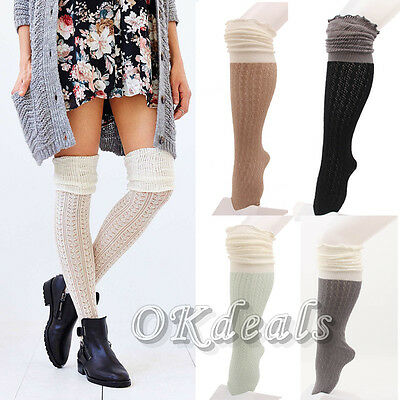 Women Lady Lace Trim Boot Socks Button Knit Knee High Crochet Leg Warmers TOP