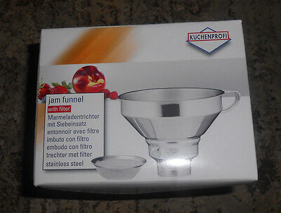 Kuchenprofi 18/10 Stainless Steel Wide Mouth Funnel With Removable Filter L@@K!