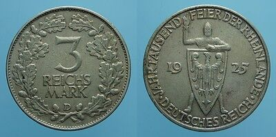 Germania 3 Reichsmark 1925 D Weimar Bb