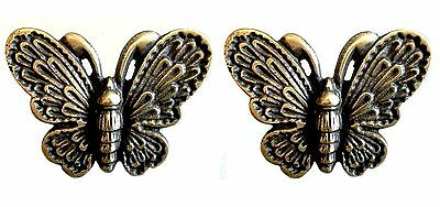 Butterfly Motif Brass Drawer Pulls Set of 2
