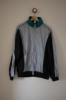 Vintage silver/black/green shell suit jacket M