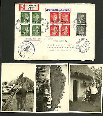 *Deutsche Dienstpost Ukraine, R-Brief-6.11.1942-Proskorow-Leipzik+3 Fotos*