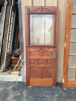 "Cm 14 Antique Pine Farm House Carved Entrance Door 32"" X 80"""