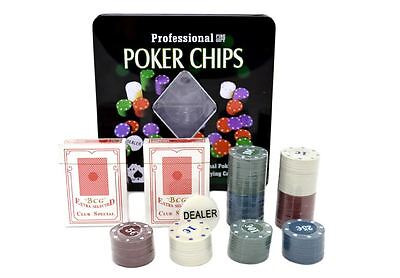 Professional Poker Chips 100 Chips 2 Decks Playing Cards Casio Game Set