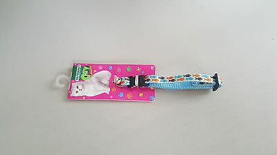 Cat Collar With Bell Blue Kitten Nylon Fish Pattern Dog Strong Safe Luxuru