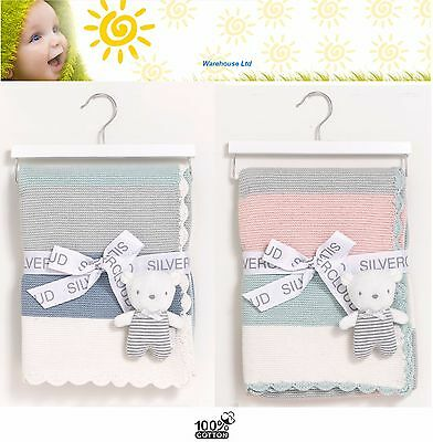 Silver Cloud Baby Blanket Made With Love Blanket & Bear Gift Set - Pink or Blue