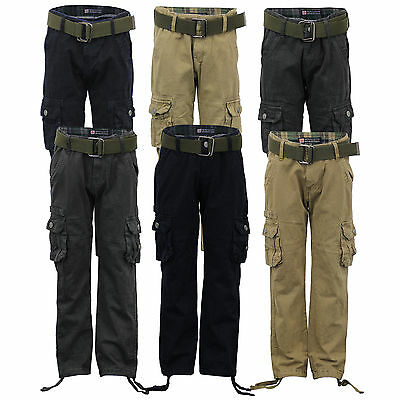 boys kids pants combat cargo trouser jeans belt