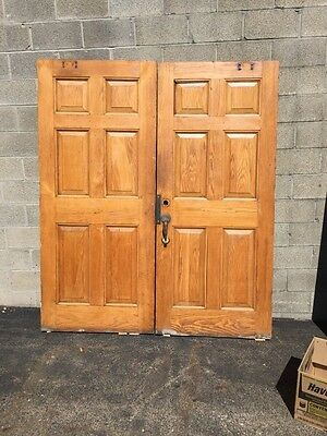 Cm 22 One Pair Antique Very Heavy Raise Panel Oak Entrance Doors