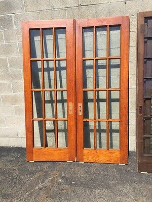 "Cm 23 One Pair Antique Oak French Doors 60"" X 83"""