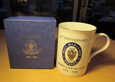 West Midlands Police 1974-1999 25Th Anniversary Sports And Social Club Mug Boxed