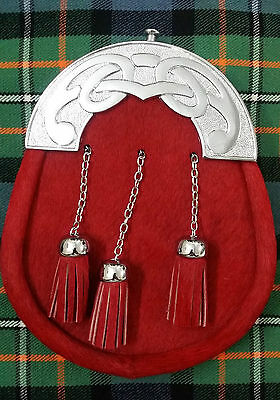 Men's Kilt Sporran Full Dress Red Bovine Celtic Cantle Chrome/Scottish Sporrans