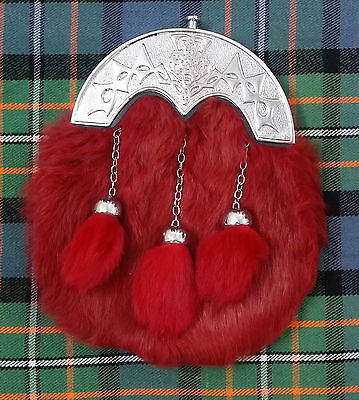Men's Scottish Full Dress Kilt Sporran Red Rabbit Fur Thistle Knot Cantle Chrome