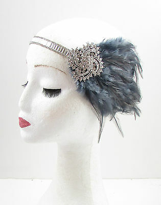 Dark Grey Silver Feather Headpiece 1920s Headband Flapper Great Gatsby Vtg 614