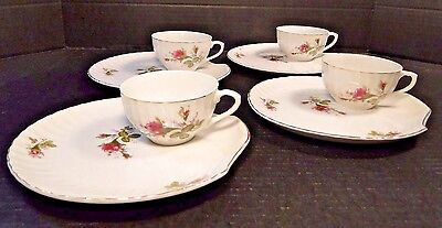 Moss Rose Vintage Snack Tray Tea Cup Sets 50's Japan Scalloped FOUR EXCELLENT!