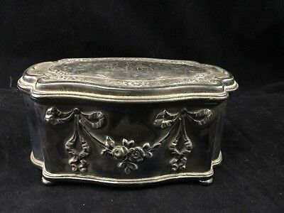 ANTIQUE REED & BARTON MFD & PLATED SILVER PLATE Hinged Box Engraved