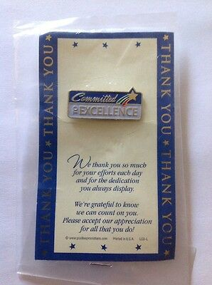 """Committed To Excellence Thank You 1"""" Gold Tone Enamel Pin On Card Plastic"""