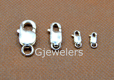925 Solid Sterling Silver  7x12mm Large Lobster Clasp w//Ring  2 Sets  #5302-7R