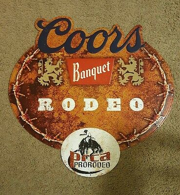 Brand New Coors Banquet PRCA Rodeo Tin Wall Hanging Sign 24X24