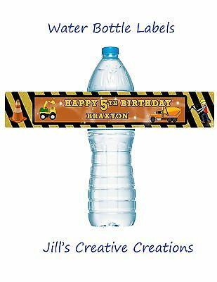 Construction Water Bottle Labels, Water bottle labels, Construction, Birthday