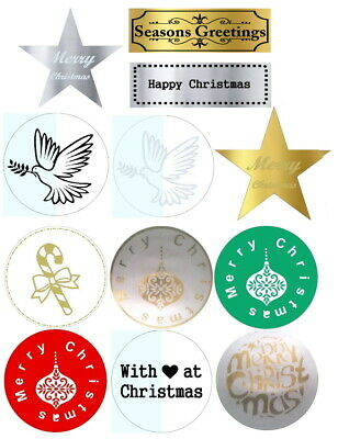 Christmas Designer Stickers Labels Envelope Seals Gold Silver Red Green  x 50