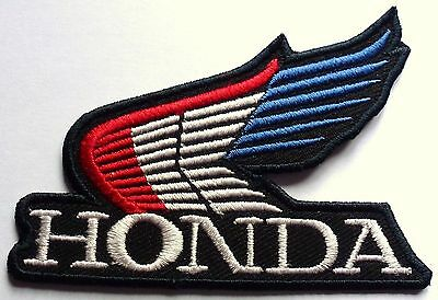 HONDA RED WHITE BLUE WINGS -  SEW OR IRON ON BIKER MOTORCYCLE PATCH 90mm x 65mm