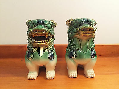 Pair of Vintage Ceramic Foo Dog Lions with Original Stoppers