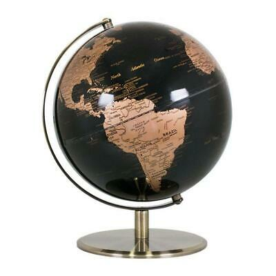 STUNNING  HIGH QUALITY Black & Copper/Gold World Globe Chrome  Home Decor 25cm