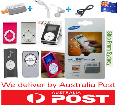 Mini MP3 Player Supports 8GB16GB 32GB Micro SD Card Clip + SAMSUNG EVO 32GB Card